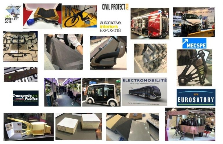 Jec World, Civil Protec , Automotive interiors,MecSpe ,  Trasport Publics, Eurosartory...